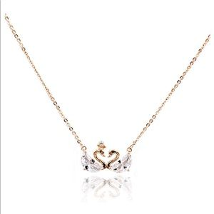 Rose gold mini double swan crystal necklace